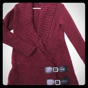 Long wool wrap sweater with leather buckles